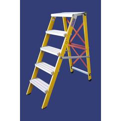 """סולם מדרגות מתקפל מפיברגלס מקצוענים - 4 מדרגות - """"חגית"""""""