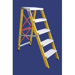 """סולם מדרגות מתקפל מפיברגלס מקצוענים כולל ידית אחיזה וגלגלים-4 מדרגות-""""חגית"""""""